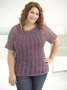 Curvy Girl Openwork Top Down Pullover