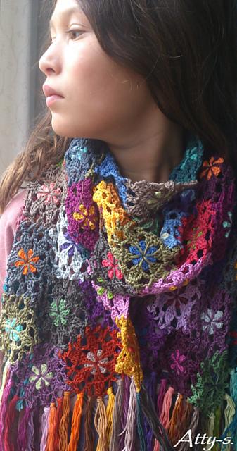 Crochet Patterns Galore - Flower Scarf