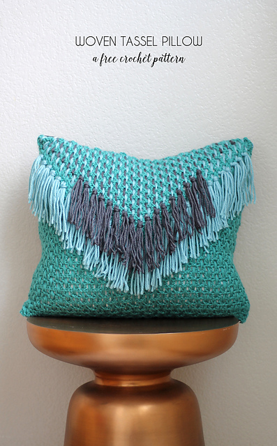 Crochet Patterns Galore Woven Tassel Pillow