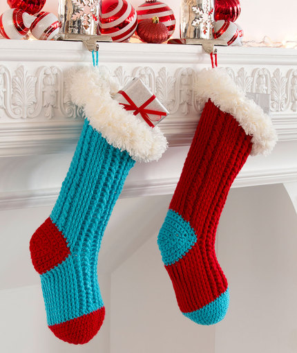 Crochet Patterns Galore Fur Top Holiday Stockings