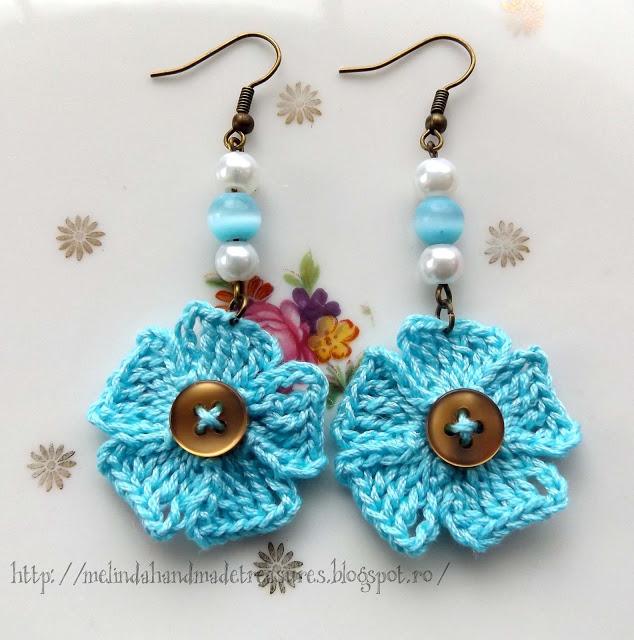 Crochet Patterns Galore Little Blue Flowers Earrings