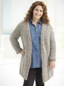 Curvy Girl Crochet Cabled Cardigan