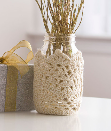 Crochet Patterns Galore Sparkling Lace Jar Cozy
