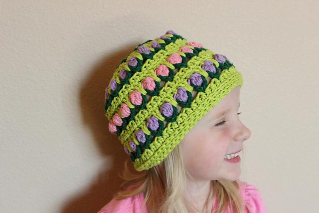 Crochet Patterns Galore : Crochet Patterns Galore - Field of Flowers Hat