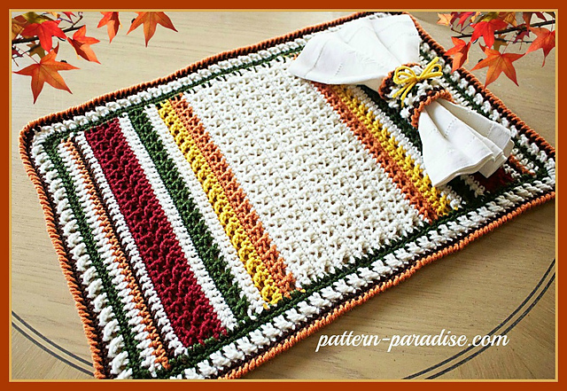 Crochet X Stitch : Crochet Patterns Galore - X Stitch Harvest Placemat and Napkin Ring