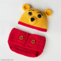 Winnie The Pooh Hat and Diaper Set