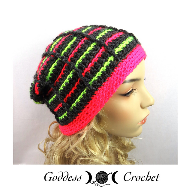 Crochet Patterns Galore - Stained Glass Stripes Beanie
