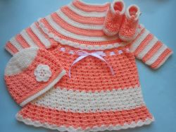 Baby Dress, Hat and Mittens