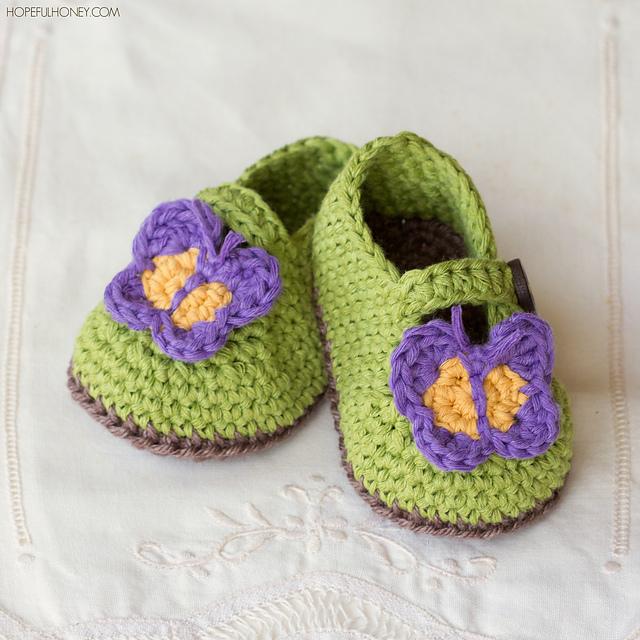 Crochet Patterns Galore : Crochet Patterns Galore - Butterfly Garden Baby Booties