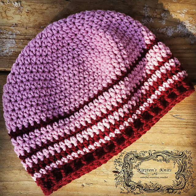 Crochet Patterns Galore Cherry Stripe Womens Beanie