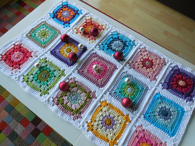 Crochet Patterns Galore Granny Square Table Runner