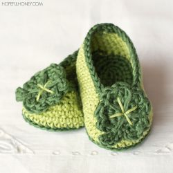 St Patricks Day Shamrock Baby Booties