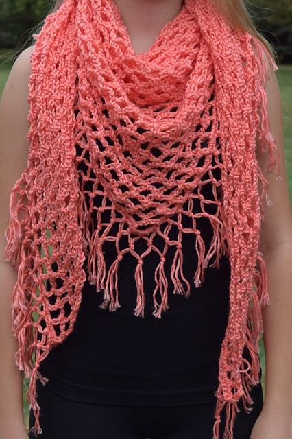 Crochet Patterns Galore Coral Fringe Triangular Shawl