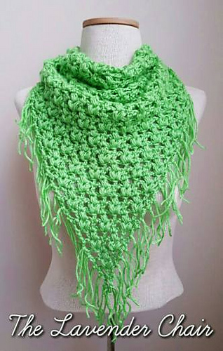 Crochet Patterns Galore Clover Puff Triangle Scarf