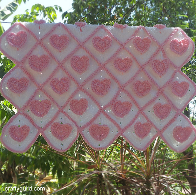 Crochet Patterns Galore 3d Heart Granny Baby Blanket