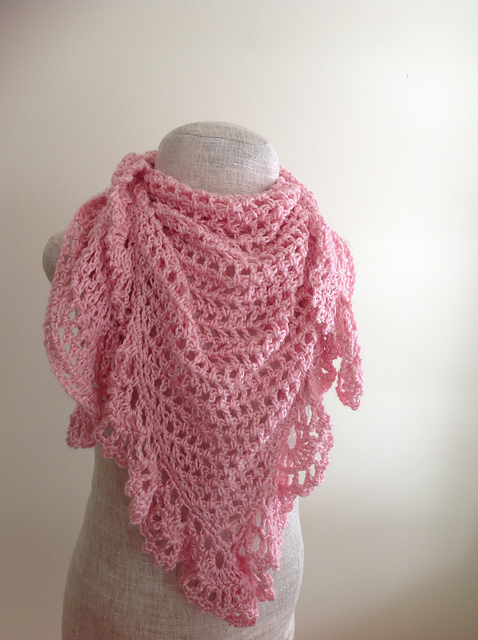 Crochet Patterns Galore Pink Lacy Triangular Shawl
