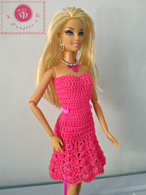 Crochet Patterns Galore Fashion Doll Strapless Flared Dress