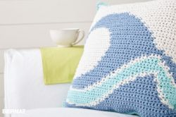 Catch a Wave Crochet Pillow