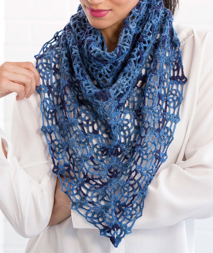 Crochet Patterns Galore - Lacy Blues Pineapple Shawl