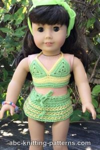 American Girl Doll Two-Piece Swim Suit (Bikini Top and Skirt Bottom)