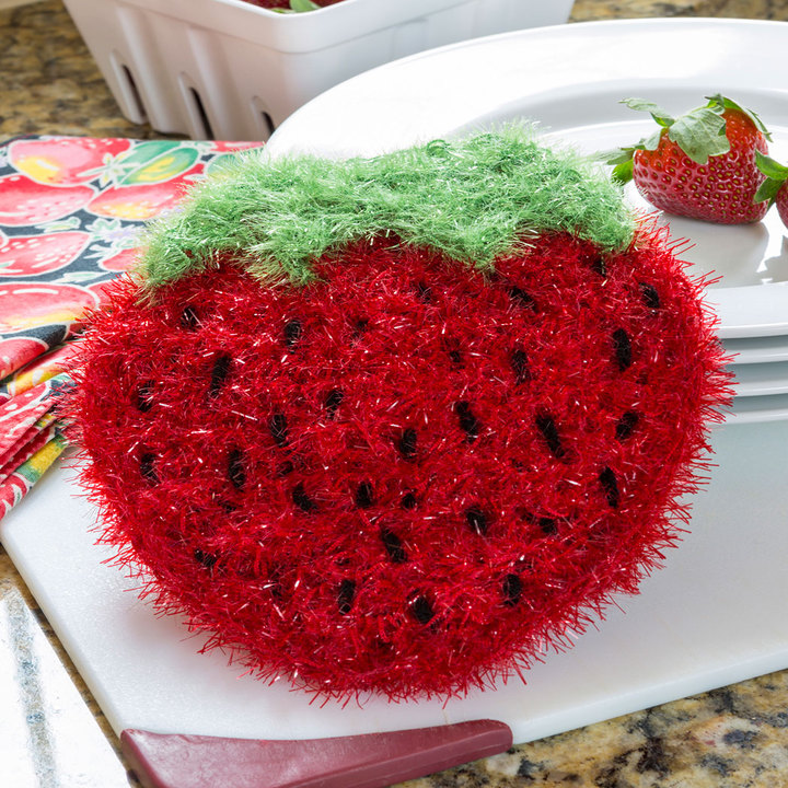 Crochet Patterns Galore Strawberry Sparkle Scrubby