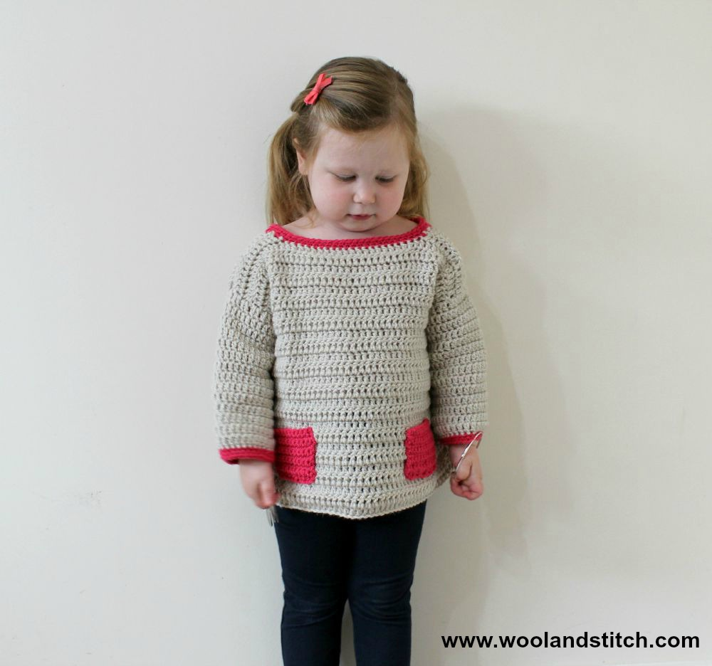 Crochet Patterns Galore Mini Kids Pocket Sweater