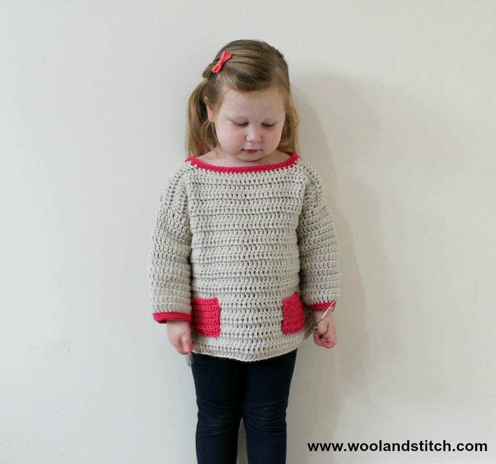 Crochet Patterns Galore - Mini Kids Pocket Sweater