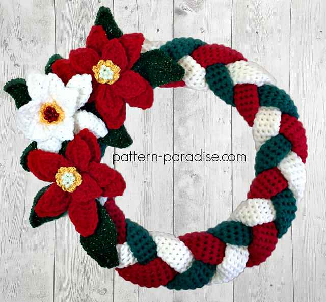 Crochet Patterns Galore - Braided Christmas Wreath