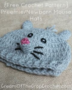 Preemie/Newborn Mouse Hats