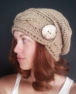 Cabled Big Button Slouchy Hat