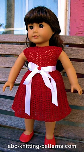 Crochet Patterns Galore American Girl Doll Christmas Dress With