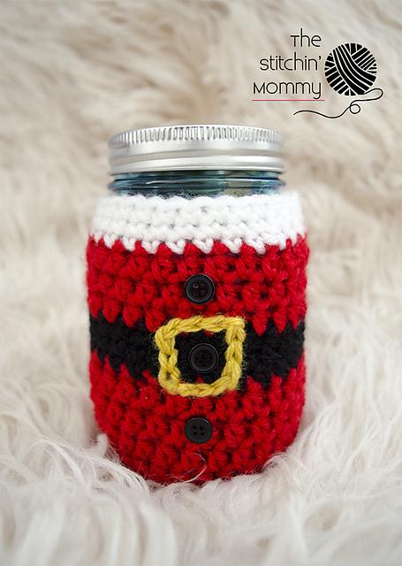 Crochet Patterns Galore Little Santa Mason Jar Cozy