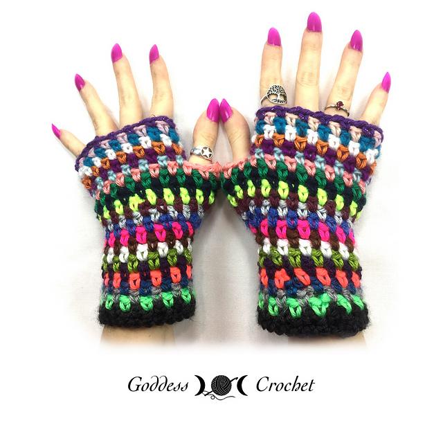 Crochet Patterns Galore Scrap Buster Fingerless Gloves