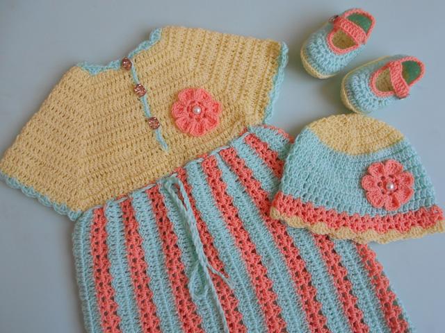 Crochet Patterns Galore Stripe Baby Frock Dress