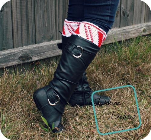 Crochet Patterns Galore - Candy Cane Boot Cuffs