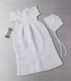 Crocheted Christening Gown And Bonnet