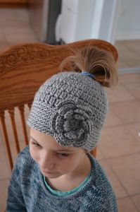 Cluster Stitch Messy Bun Hat