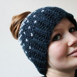 Lovely heart bun hat