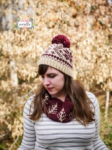 Faux Knit Fair Isle Toque and Cowl
