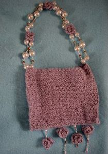 Lilac Purse with Pearl Beads and Roses