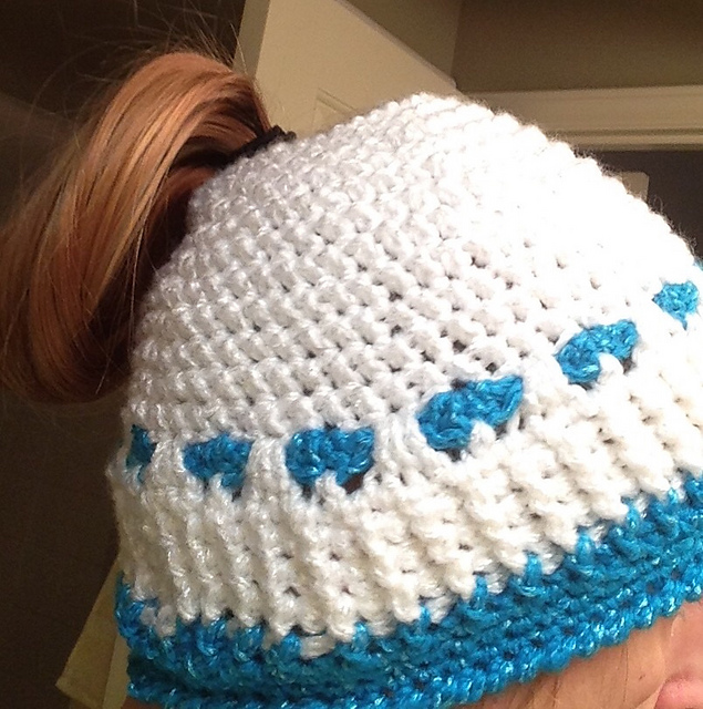 Crochet Patterns Galore - Herringbone Hearts Ponytail Hat