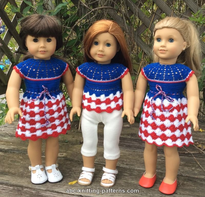 Crochet Patterns Galore American Girl Doll Independence Day Dress