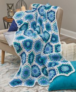 Hexagon Blues Throw