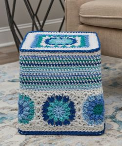 Hexagon Blues Ottoman