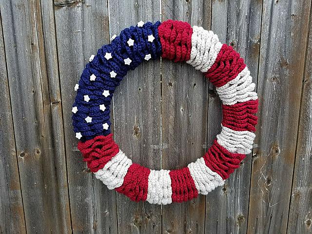 Crochet Patterns Galore American Flag Wreath