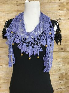 Beaded Lila Necklace Scarf