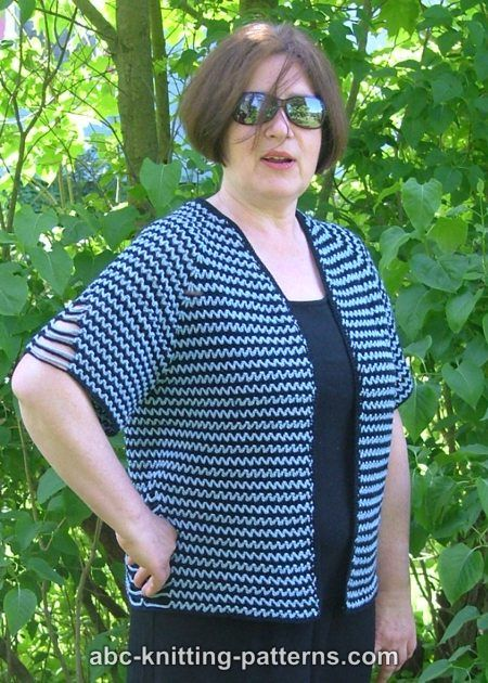 Crochet Patterns Galore Two Tone Raglan Top Down Summer Cardigan